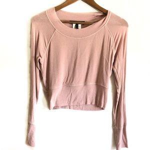 BCBGMaxAzria Blush Long Sleeve Crop Top